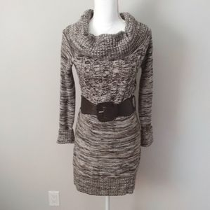 Charlotte Russe Brown/Cream Knit Dress with Belt